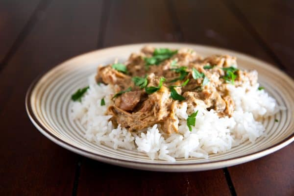 Slow Cooker Chicken Marsala and Rice @EclecticEveryday