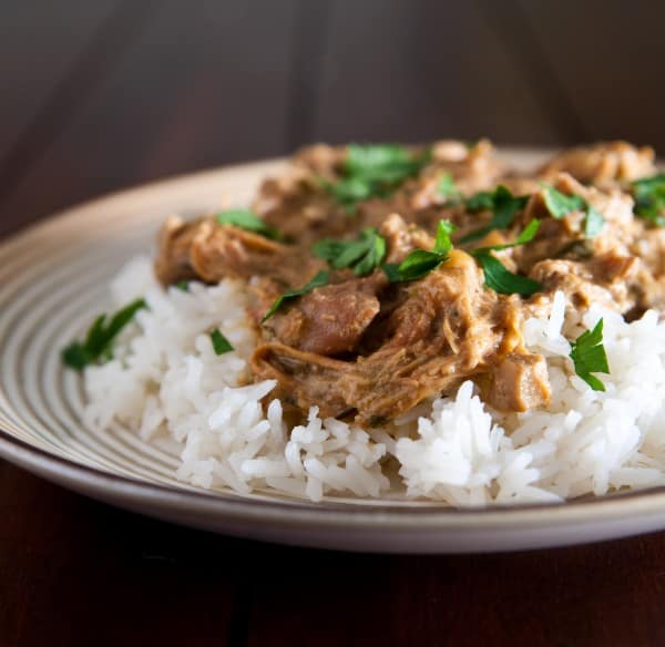 Slow Cooker Chicken Marsala and Rice by EclecticRecipes.com #recipe