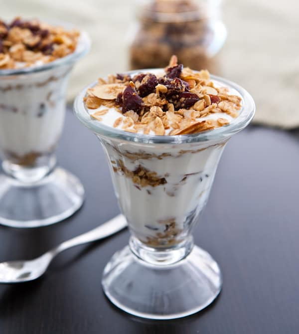 Cranberry Almond Granola Parfaits  @EclecticEveryday