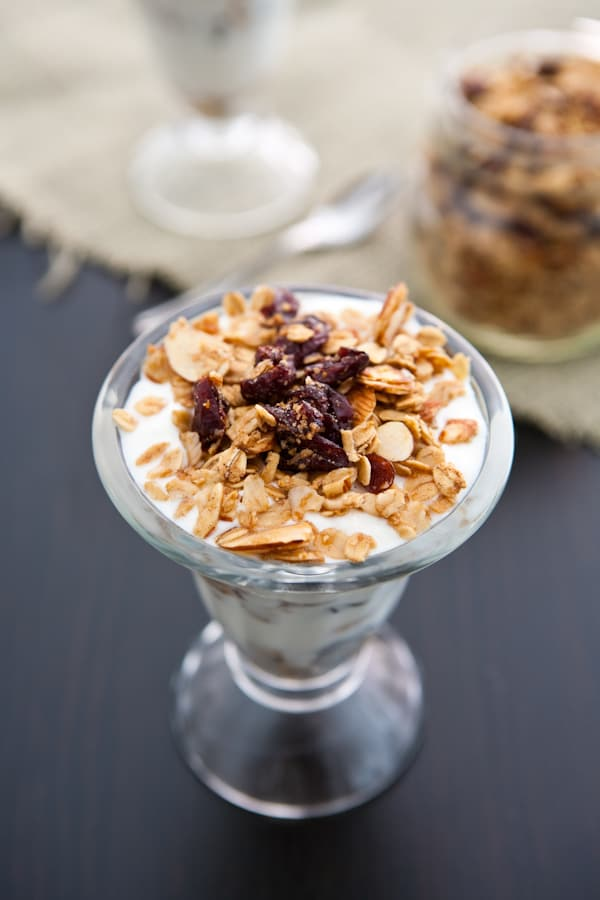 Eclectic Recipes » Cranberry Almond Granola Parfaits