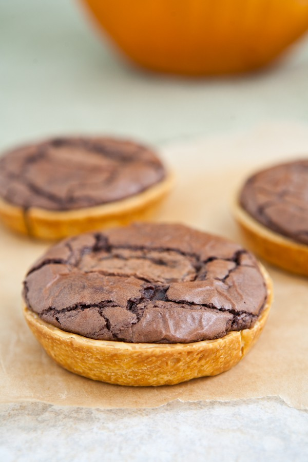 Mini Candy Bar Brownie Pies by EclecticRecipes.com #recipe