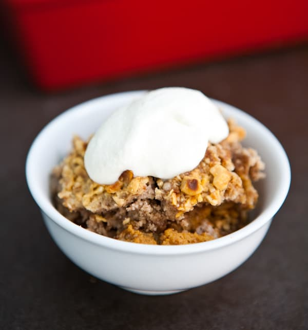 Pumpkin Hazelnut Dump Cake by EclecticRecipes.com #recipe