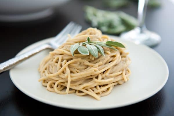 Chestnut, Sage and Prosciutto Spaghetti  by EclecticRecipes.com #recipe