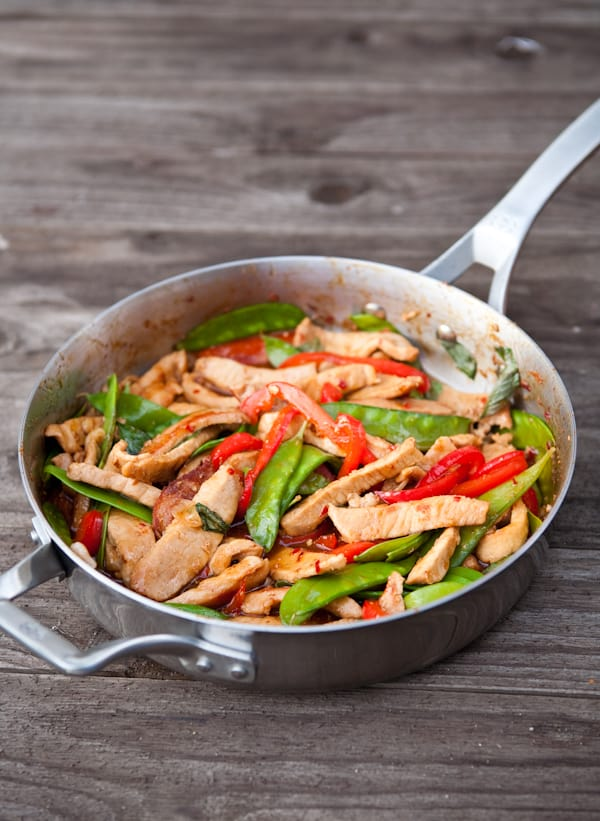 Thai Basil Pork Stir Fry {$500 Calphalon Gift Card Giveaway} by EclecticRecipes.com #recipe