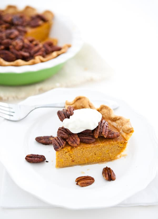 Sweet Potato Pie with Maple Candied Pecans by EclecticRecipes.com #recipe