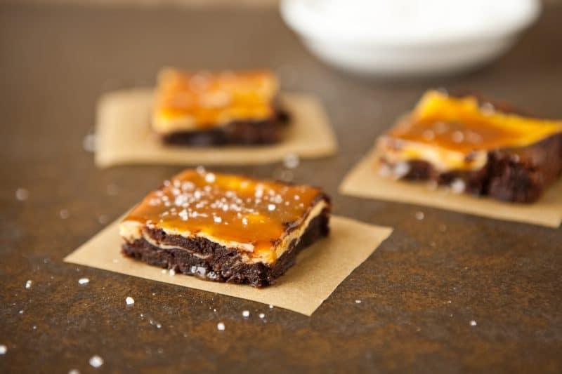 ... Recipes » Vanilla Bean Cheesecake Fudge Brownies with Salted Caramel