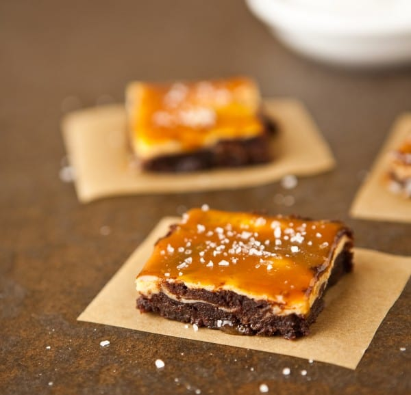 Vanilla Bean Cheesecake Fudge Brownies with Salted Caramel by EclecticRecipes.com #recipe
