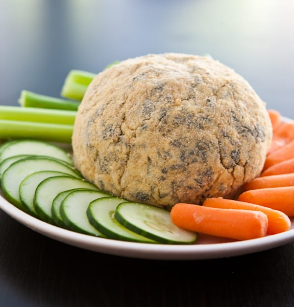 Spinach Artichoke Cheese Ball by EclecticRecipes.com #recipe