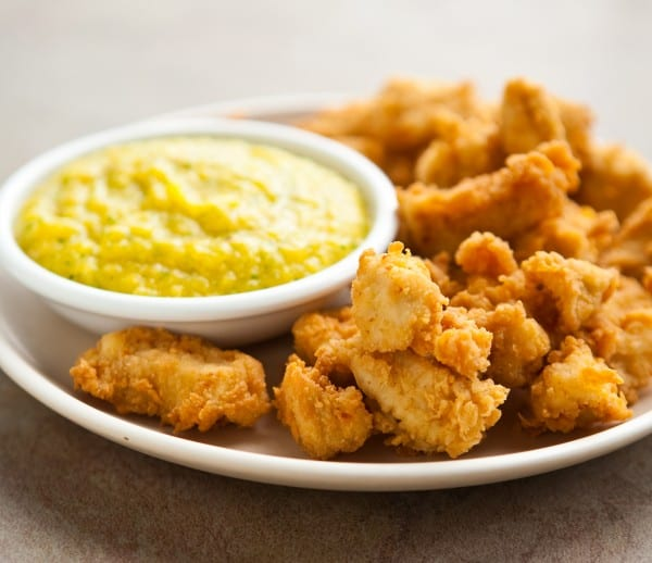 Coconut Curry Fried Chicken Nuggets with Mango Dipping Sauce by EclecticRecipes.com #recipe