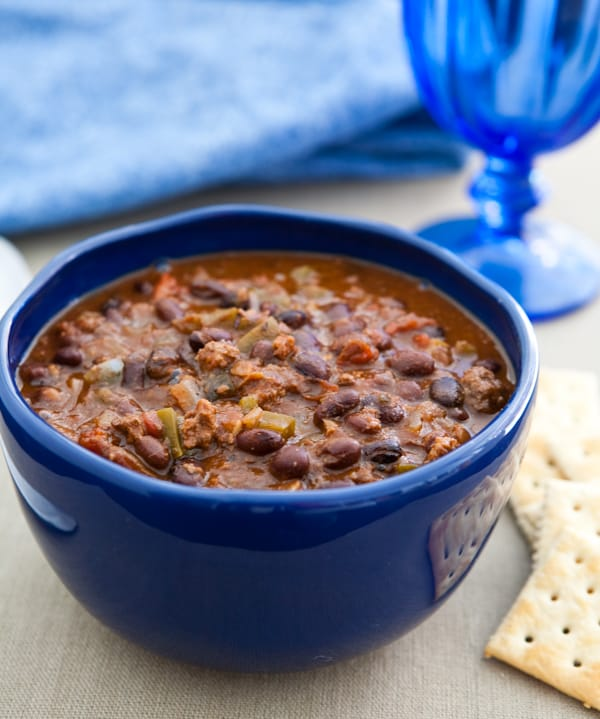 Slow Cooker Black Bean Lamb Chili by EclecticRecipes.com #recipe