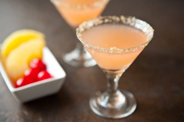 Pineapple Upside Down Martinis by EclecticRecipes.com #recipe