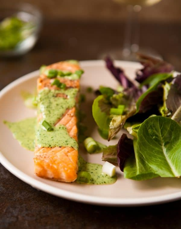 Baked Salmon with Wasabi Sauce by EclecticRecipes.com #recipe
