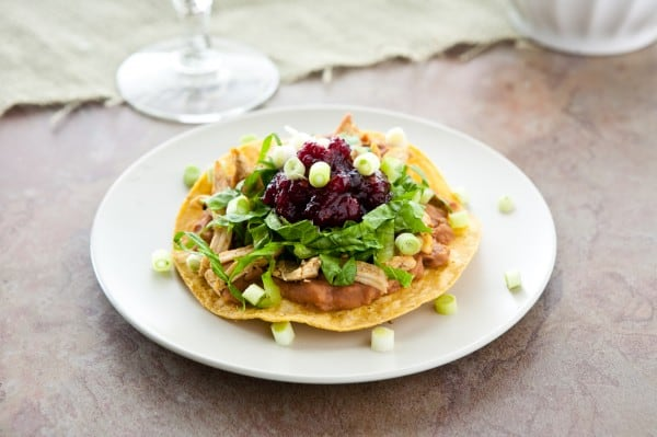 Turkey Tostadas with Cranberry Chipotle Sauce by EclecticRecipes.com #recipe