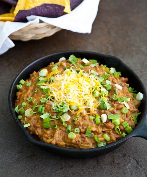 Skillet Chili Cheese Dip  by EclecticRecipes.com #recipe