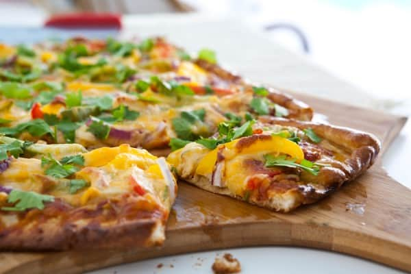 Chicken Fajita Pizza by EclecticRecipes.com #recipe