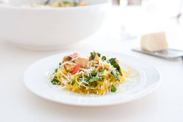 Spaghetti Squash Chicken Pasta by EclecticRecipes.com #recipe