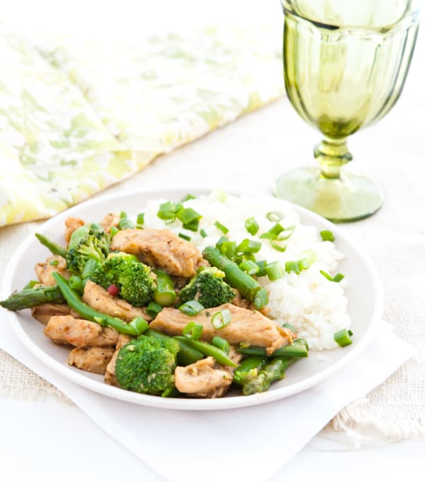 Eclectic Recipes » Asparagus and Broccoli Chicken Teriyaki