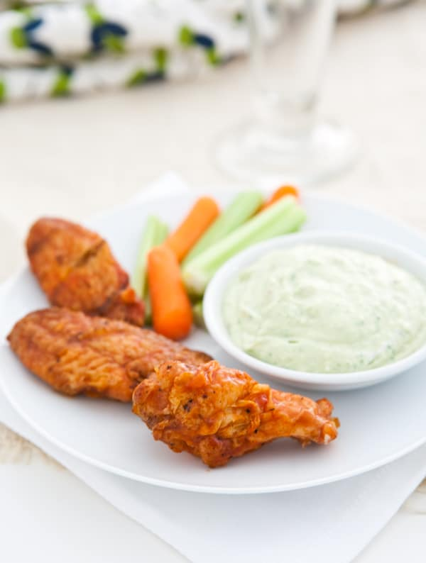 Grilled Buffalo Wings with Avocado Blue Cheese Dip by EclecticRecipes.com #recipe