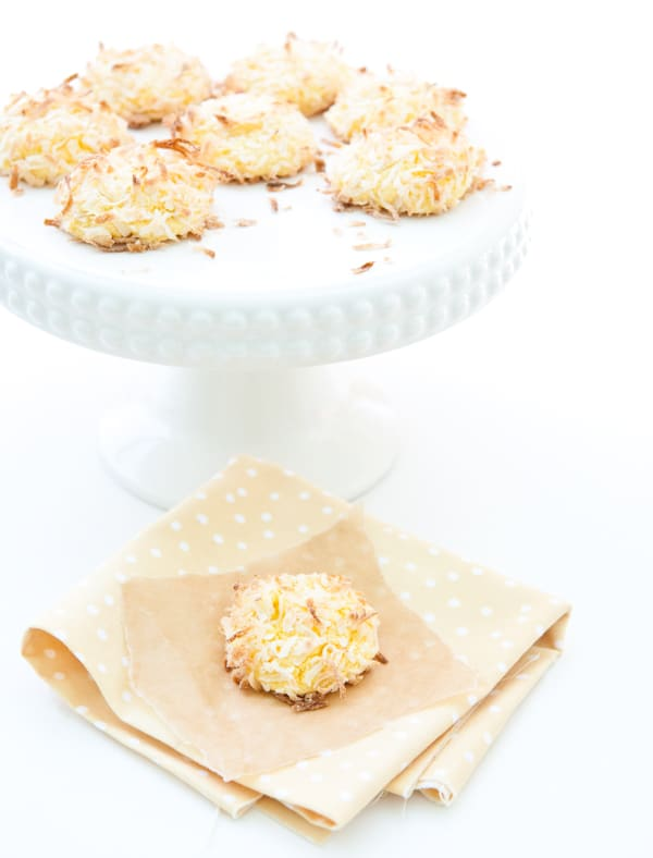 Lemon Coconut Cake Mix Cookies by EclecticRecipes.com #recipe