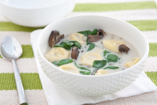Mushroom Spinach Tortellini Soup @EclecticEveryday