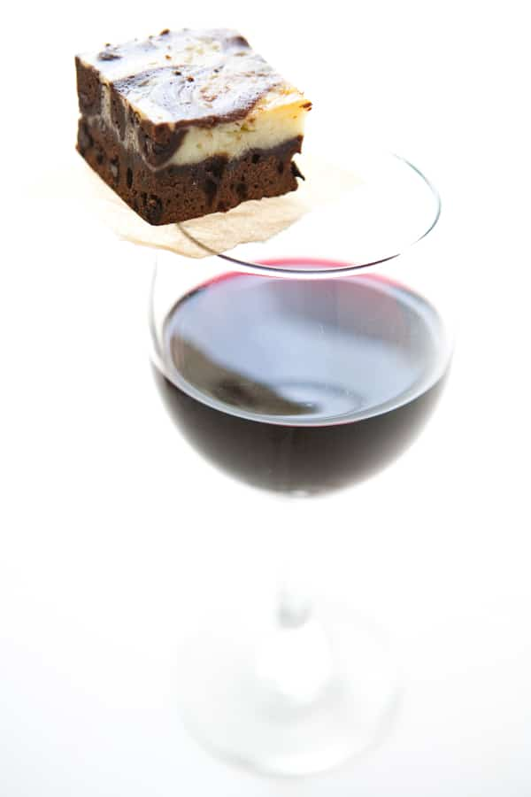 Red Wine Cream Cheese Swirl Brownies @EclecticEveryday
