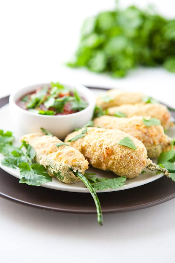 Bean and Cheese Stuffed Jalapeño Poppers by EclecticRecipes.com #recipe