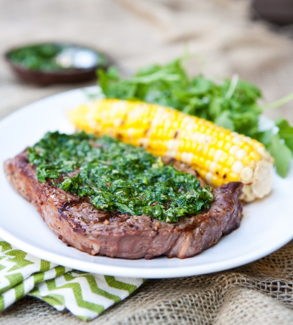 Grilled Gaucho Rib Eye Steaks with Cilantro Chimichurri by EclecticRecipes.com #recipe