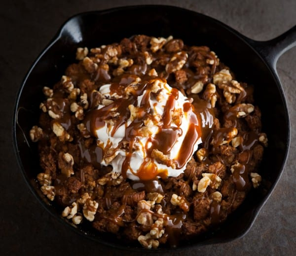 Skillet Apple Butter Bread Pudding by EclecticRecipes.com #recipe