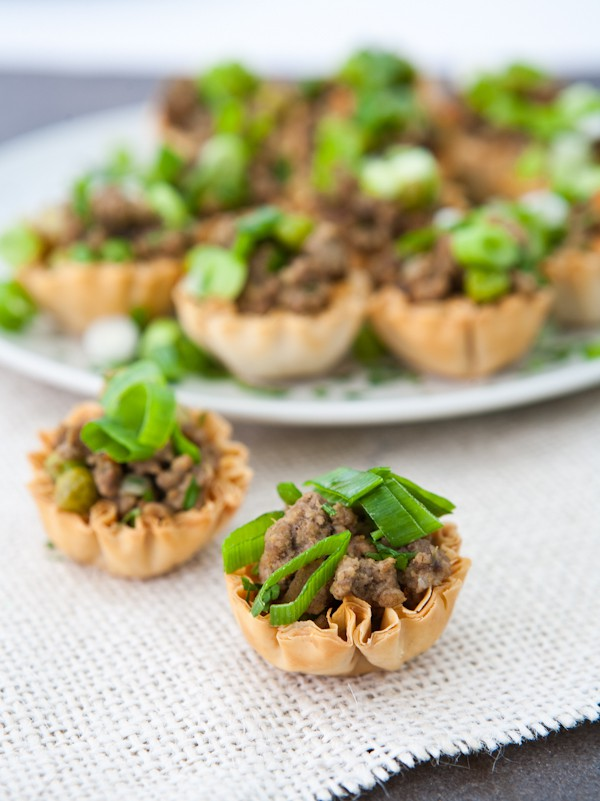 Mini Jamaican Beef Bites In Phyllo Shells  by EclecticRecipes.com #recipe