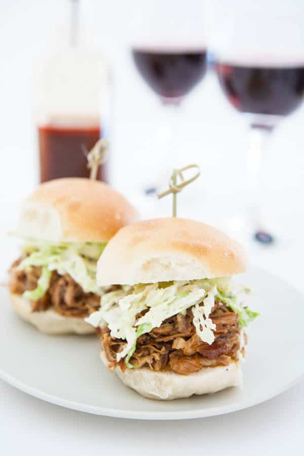 Eastern Carolina Pulled Pork Sliders and Ranch Slaw by EclecticRecipes.com #recipe