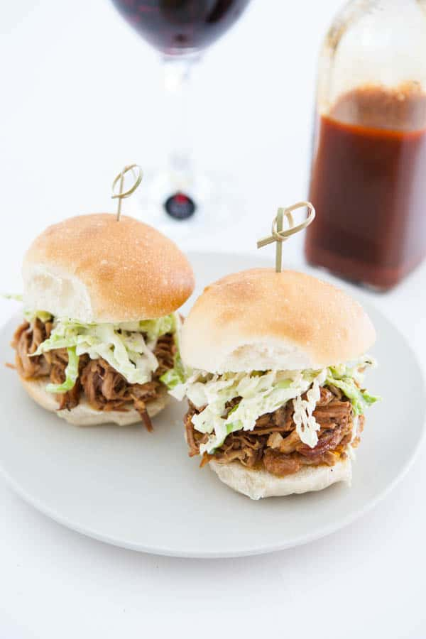 Eastern Carolina Pulled Pork Sliders and Ranch Slaw @EclecticEveryday