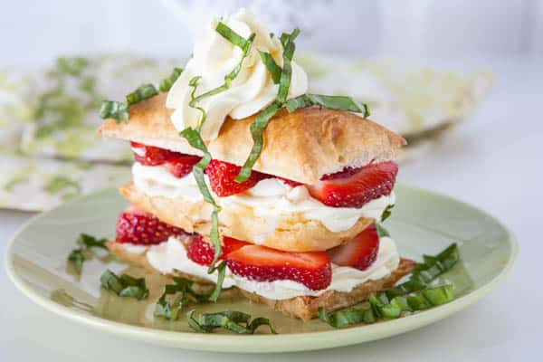 Easy Strawberry Basil Napoleons by EclecticRecipes.com #recipe