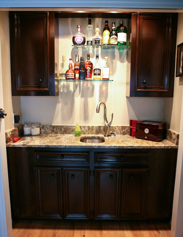 Eclectic recipes home office and wet bar makeover for Office wet bar