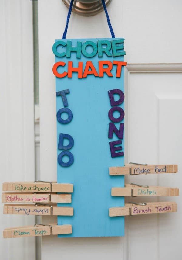 DIY Clothespin Chore Chart @EclecticEveryday