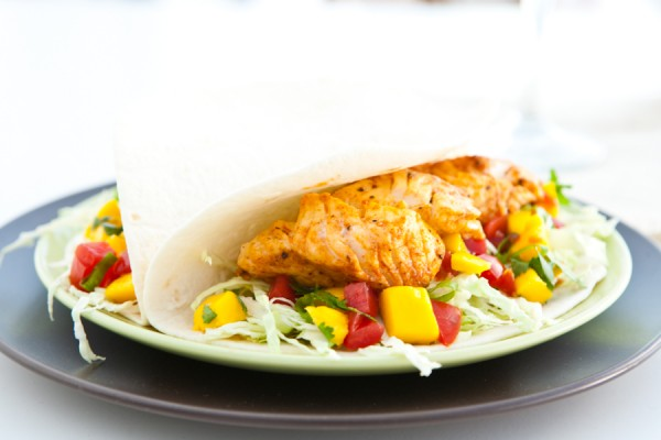 Fish Tacos with Mango Salsa by EclecticRecipes.com #recipe