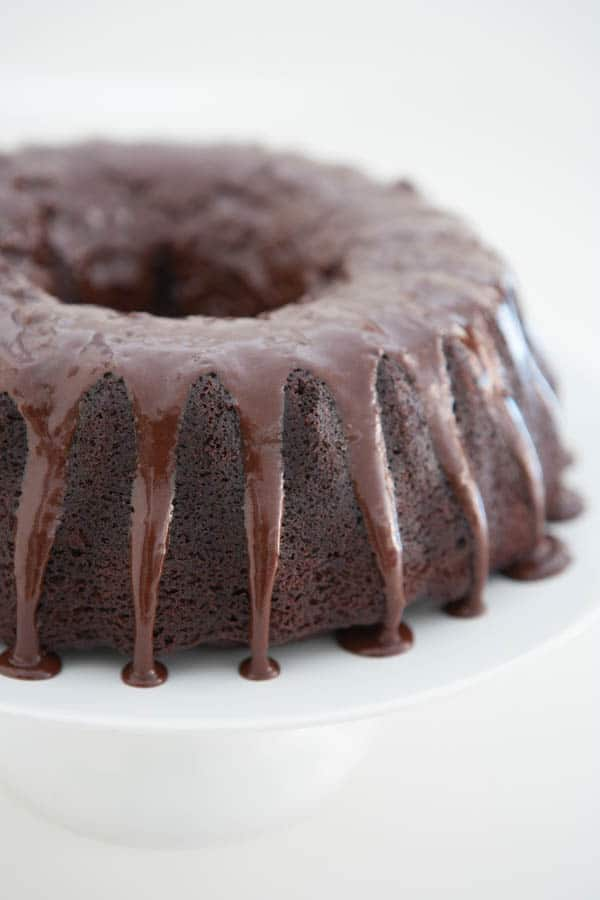 Decadent Chocolate Bundt Cake by EclecticRecipes.com #recipe