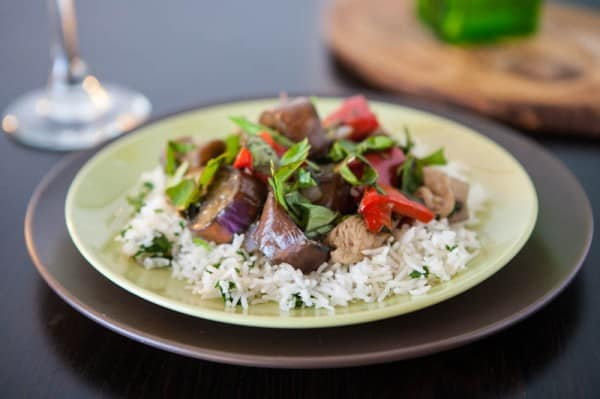 Chicken and Eggplant Stir Fry by EclecticRecipes.com #recipe