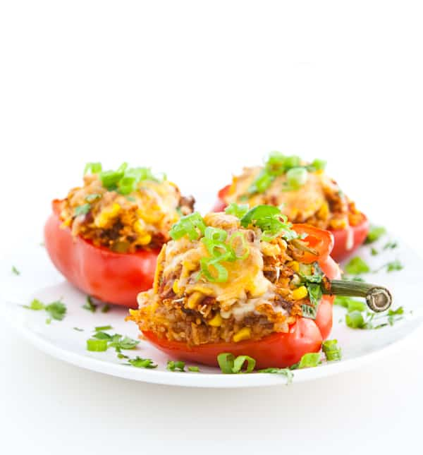 Bell Peppers Stuffed with Taco Rice by EclecticRecipes.com #recipe