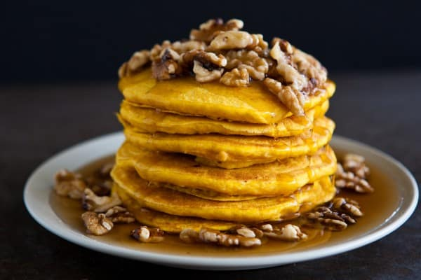 Pumpkin Pancakes  by EclecticRecipes.com #recipe