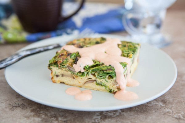 Spicy Egg Bake with Sriracha Remoulade by EclecticRecipes.com #recipe