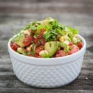 Fresh Corn, Tomato and Avocado Salsa by EclecticRecipes.com #recipe
