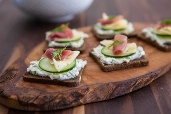 Prosciutto, Swiss and Cucumber Appetizer by EclecticRecipes.com #recipe