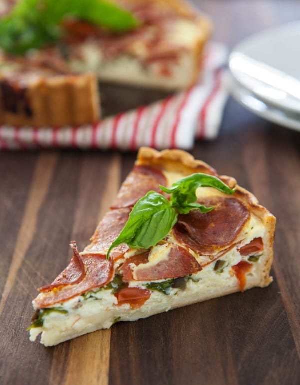 Peperoni Pizza Quiche  by EclecticRecipes.com #recipe