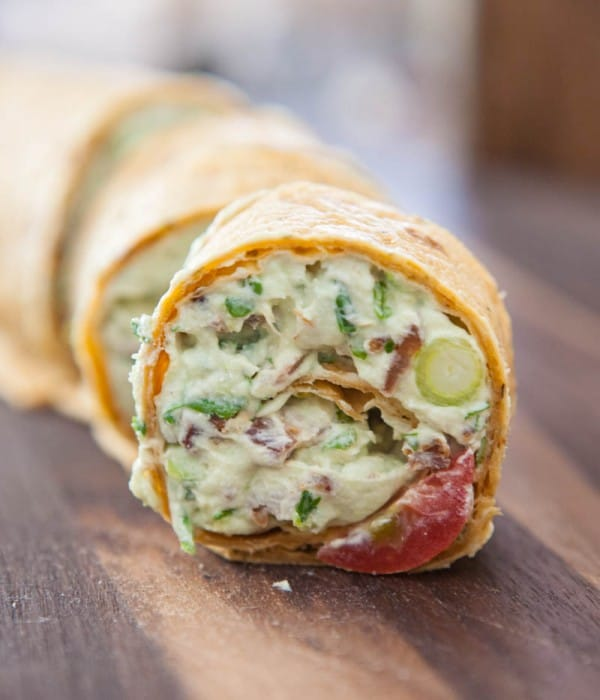 Avocado Cream Cheese Snack Roll Ups by EclecticRecipes.com #recipe