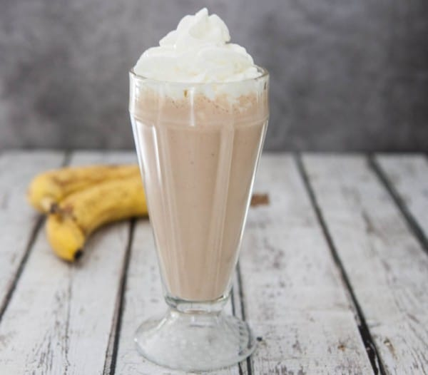 Chocolate Peanut Butter Banana Milkshake by EclecticRecipes.com #recipe