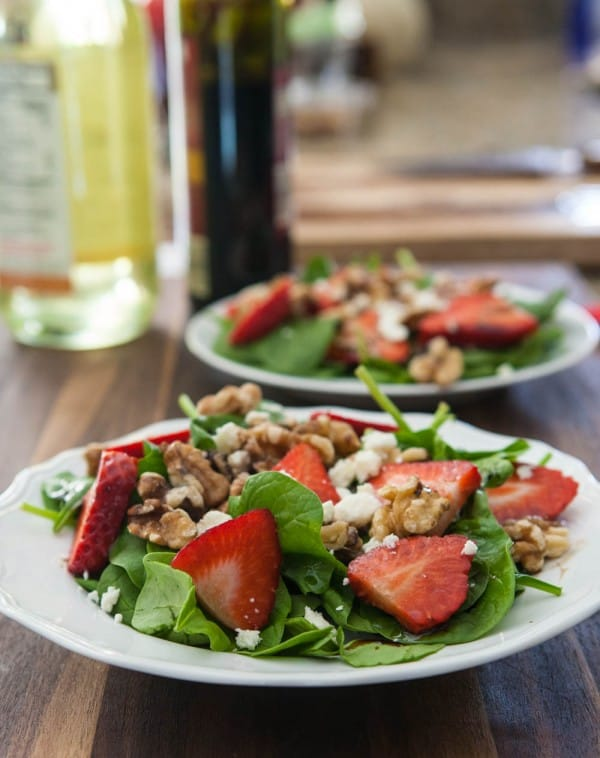 Spinach and Strawberry Salad with Feta by EclecticRecipes.com #recipe