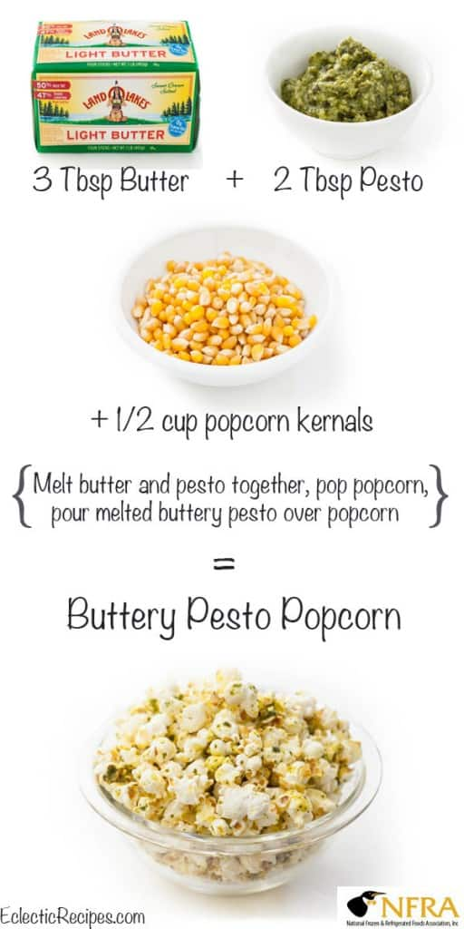 Buttery Pesto Popcorn @EclecticEveryday