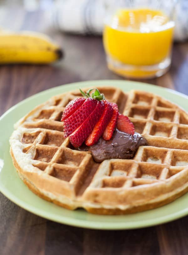 Banana Bread Waffles with Nutella  @EclecticEveryday