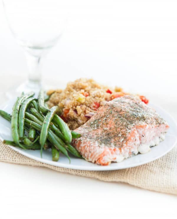 Eclectic Everyday » Cajun Quinoa, Baked Salmon and Summer Green Beans