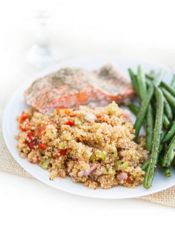 Cajun Quinoa, Baked Salmon and Summer Green Beans @EclecticEveryday